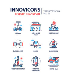 modern transport - line design style icons set vector image