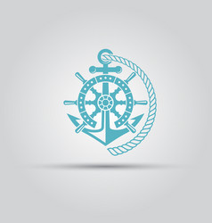 Nautical emblem with anchor rope isolated vector