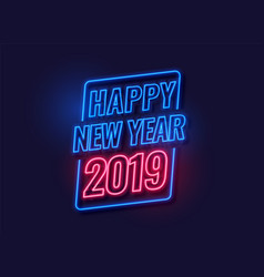 Neon style happy new year 2019 background vector