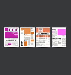 Newspaper magazine mockup template news vector