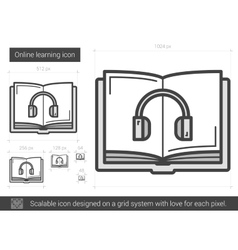 Online learning line icon vector image