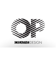 Op o p lines letter design with creative elegant vector