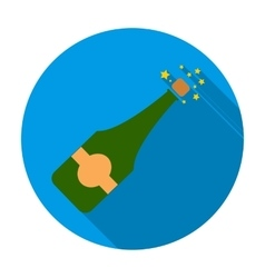 Opening of champagne icon in flat style isolated vector