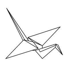 origami crane isometric gift message wish vector image
