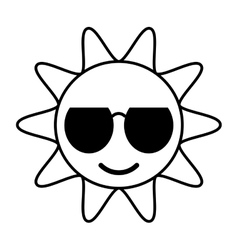 outline sun funny glasses hot vector image
