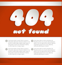 page not found error 404 on red background vector image