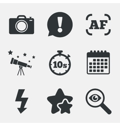 Photo camera icon Flash light and autofocus AF vector image