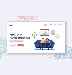 photo in home interior landing page template vector image