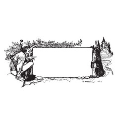 Pictorial banner have a man and rabbit vintage vector