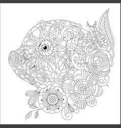 piggy with flowers coloring book for adults vector image
