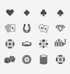 Poker club and gambling casino black icons vector