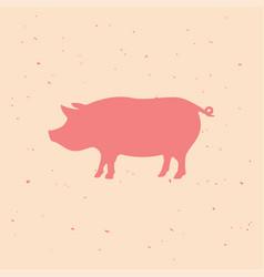 pork vintage logo retro print poster vector image
