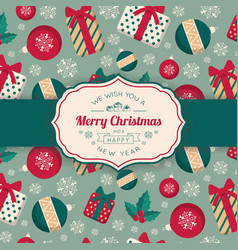 present boxes and toys pattern and greeting text vector image