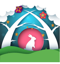 rabbit cartoon paper landscape vector image