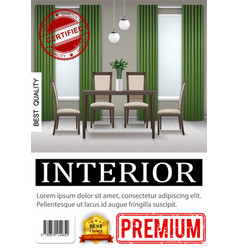 realistic classic home interior poster vector image