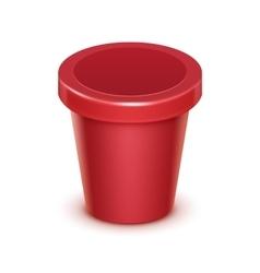 Red Container For Dessert Yogurt Ice Cream vector image