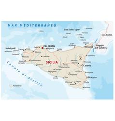 Road map italian island sicily vector