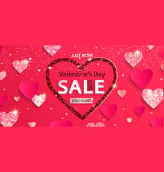 sale banner for valentine day with papercut heart vector image