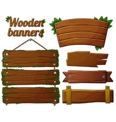 set dark wooden banners 2 vector image