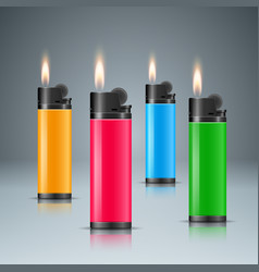 set four color lighter with fire vector image
