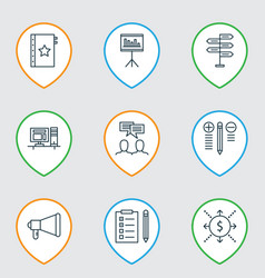 set of 9 project management icons includes money vector image