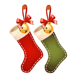Set of hanging colored socks red and green colors vector