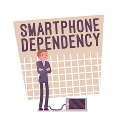 smartphone dependency poster vector image