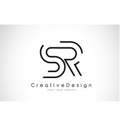 Sr s r letter logo design in black colors vector