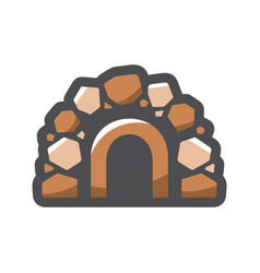 stone cave entrance icon cartoon vector image
