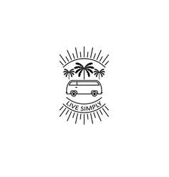 sun palm van beach logo vector image