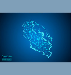 Sweden map with nodes linked by lines concept of vector