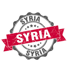 Syria round ribbon seal vector