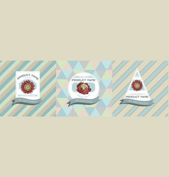 Three colored labels with protea vector