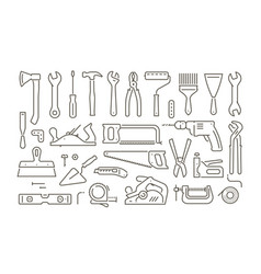 tools set icons in linear style repair vector image