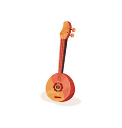traditional wooden domra with round body and three vector image