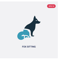 Two color fox sitting icon from animals concept vector