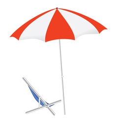 Umbrella and chairs on the beach vector