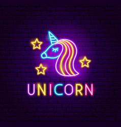unicorn neon label vector image