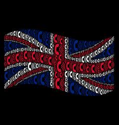 Waving great britain flag mosaic of phone ring vector
