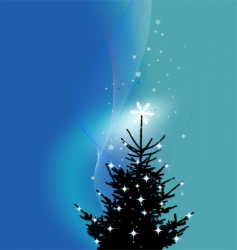 winter background Christmas tree vector image