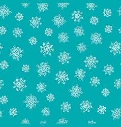winter hand drawn snowflakes seamless pattern vector image