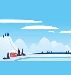 winter landscape sci mountains house hut frosen vector image