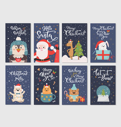 winter season flat cartoon characters postcards vector image