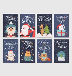 winter season flat cartoon characters postcards vector image