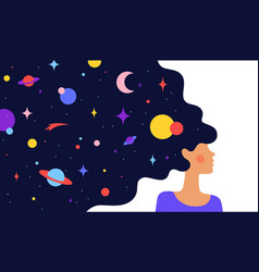 woman with dream universe simple character of vector image