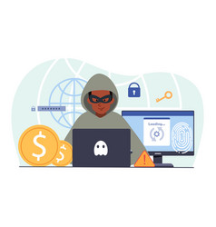 young male hacker is cyber attacking computer vector image