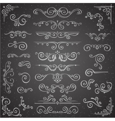Dark set of Swirl Elements for Frame Design vector image vector image