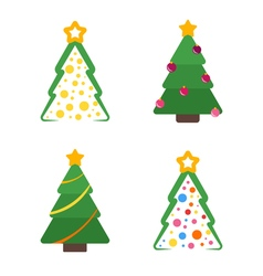 Flat christmas tree with star and garland set vector image vector image