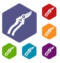 garden shears icons set vector image vector image