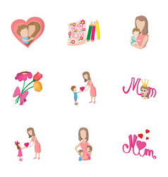 mothers day holiday icons set cartoon style vector image vector image